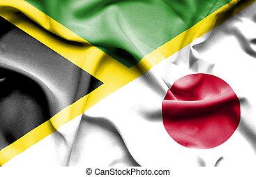 waving, bandeira, de, Japão, e, Jamaica,
