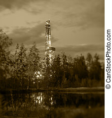 Oil drilling rig - Night landscape with the drilling rig...