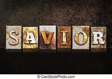 Savior Letterpress Concept on Dark Background - The word...