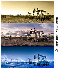 3, panoramas, aceite, pumpjack.,