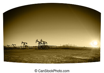 Pump-jack group - Oil pumps on the sunset sky background...
