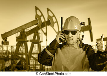 Industrial worker. Oil and gas. - Adult industrial worker in...