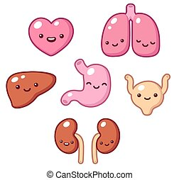 Cute organs - Set of cartoon internal organs with cute...