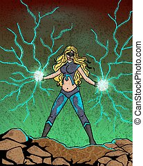 Retro style comics Superwoman showing power and strength