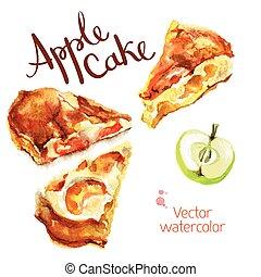 Kitchen garden - Vector watercolor sketch. Slices of apple...