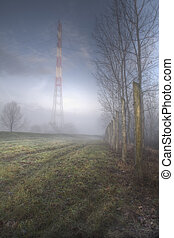 Fog 3 - Abstract shot with concrete enclosure and pylon