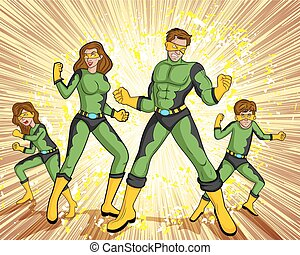 Retro style comics Superfamily showing power and strength