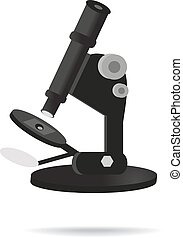 Black microscope. Vector illustration on isolated background
