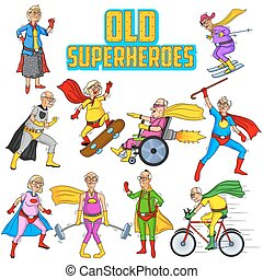 Retro style comics Superhero old man and woman showing is...