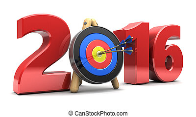 2016 year - 3d illustration of 2016 year sign with target,...