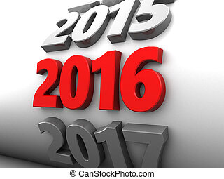 new year - abstract 3d illustration of new year 2016 sign