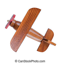 Wooden airplane model top view with clipping path included