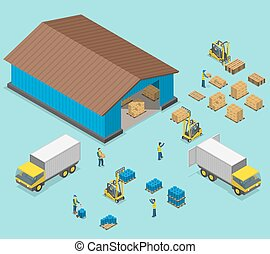 Warehouse isometric flat vector illustration. Process of...