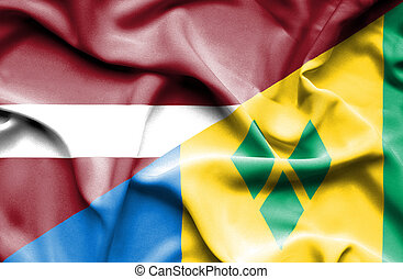 Waving flag of Saint Vincent and Grenadines and Latvia