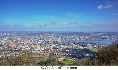 aerial view of the city of Zurich from Uetliberg hill,...