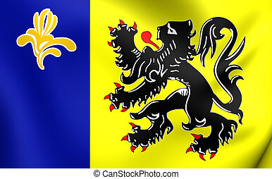 Flag of Flemish Community Commission - 3D Flag of Flemish...