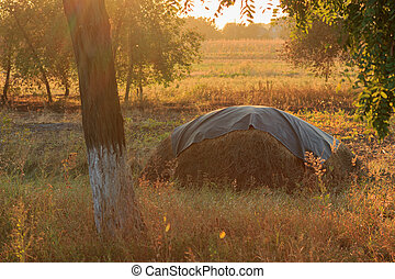 Haystack on autumn sunset