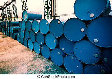 Industry oil barrels or chemical drums stacked up. Fillter...