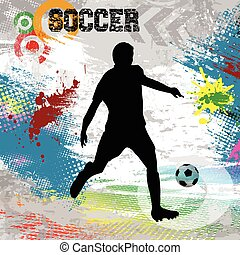 Soccer player with ball poster