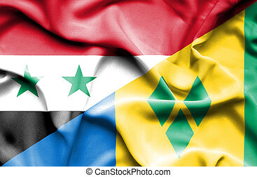 Waving flag of Saint Vincent and Grenadines and Syria