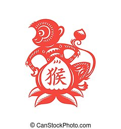Monkey Lunar symbol - Money papercut of 2016 Lunar year...