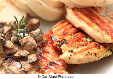 chicken meat with mushrooms and dumplings as food background