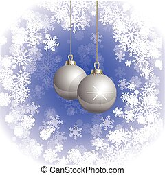Cristmas background blue with balls and snowflakes