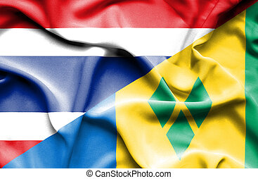 Waving flag of Saint Vincent and Grenadines and Thailand