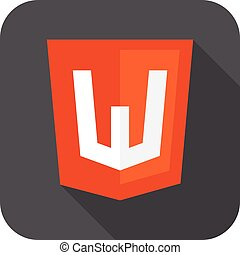 Vector web development shield sign - html5 W letter....