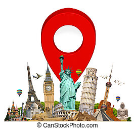 Monuments of the world with pin marker icon - Famous...