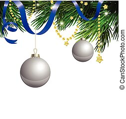 Cristmas clipart on white background with blue ribbon