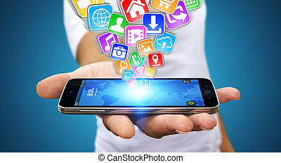 Businessman using modern mobile phone - Businessman with...