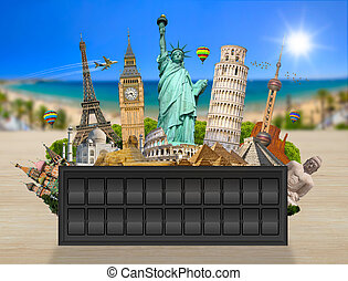 Monuments of the world on a airport billboard panel - Famous...