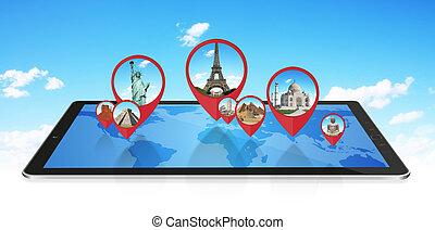 Monuments of the world on a modern tablet - Famous monuments...