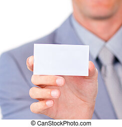 Focus on a white card