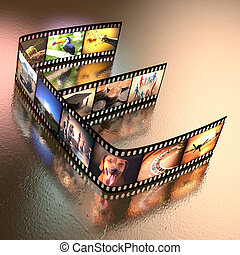 Photo E - Letter E written with a photographic film strip....