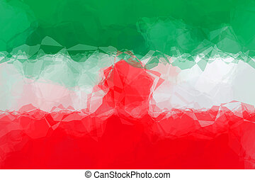 Iranian flag - triangular polygonal pattern