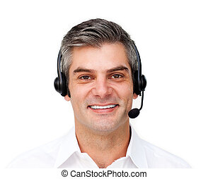 Confident customer service agent with headset on against a...