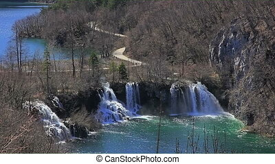 Plitvice lakes national park in Croatia. - Waterfall and...