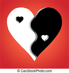 Love Yin Yang on red background, vector