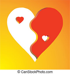 Love Yin Yang on yellow background, vector
