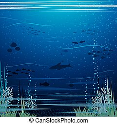 Beautiful Underwater Landscape Vector Art Ready for Your...