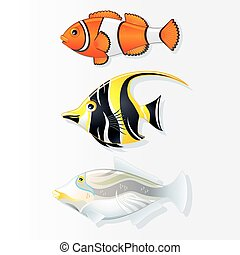 Tropical Reef Fishes Vector Collection - Tropical Reef...