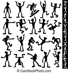 Funny Cartoon Guy Silhouette Vector Set - Funny Cartoon Guy...