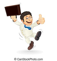 Happy Cartoon Businessman Cartoon Vector on the