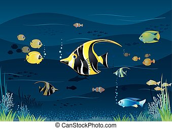 Underwater Background. Cartoon Vector