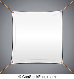 White Textile Vector Banner. Abstract Template Ready for...