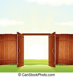 Village Timber Gate. Vector Image for your Design.