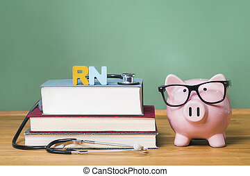 Registered Nurse RN theme with pink piggy bank with...