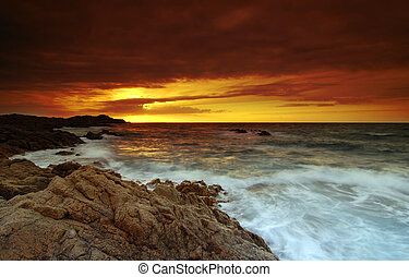 Sunset over the ocean - Beautiful sunset over the sea on...